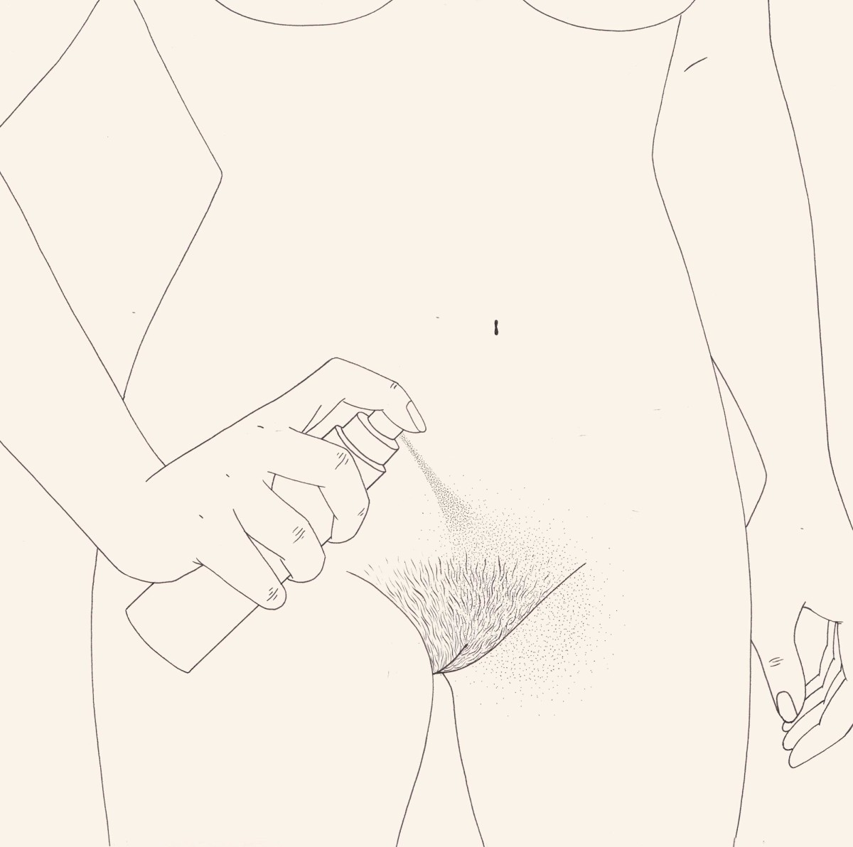 Illustration of woman spraying Mons Mist on her pubic hair and skin