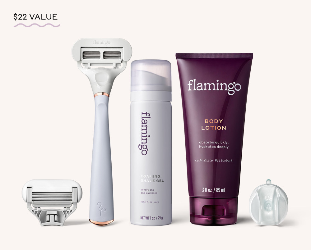 Flamingo Taro and Rose Gold, Razor Handle, German-Engineered Five Blade Cartridge, Foaming Shave Gel (1oz), Body Lotion (3oz), and Shower Hook; a $22 value