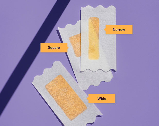 Square wax strip, wide wax strip, narrow wax strip