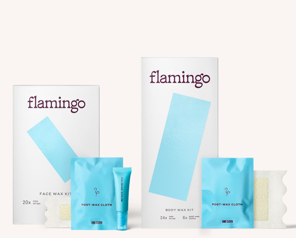 Flamingo Face & Body Wax Kit with Post-Wax Cloths & Calming Serum