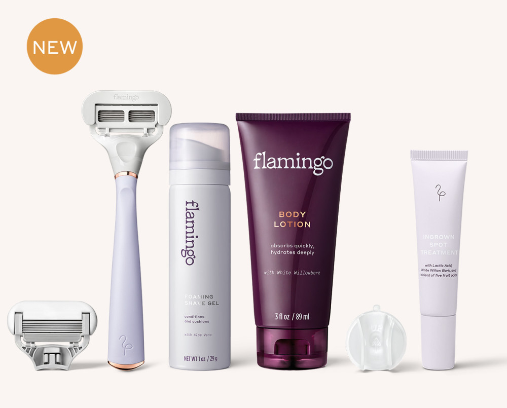 New Bundle! Flamingo Razor Handle, German-Engineered Five Blade Cartridge, Foaming Shave Gel (1oz), Body Lotion (3oz), Shower Hook, and a full-size Flamingo Ingrown Spot Treatment