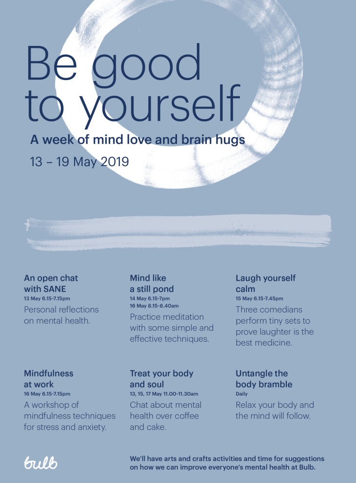 A poster advertising events for Mental Health Awareness week at Bulb