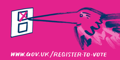 An illustration of a stork registering to vote, with the URL attached www.gov.uk/register-to-vote