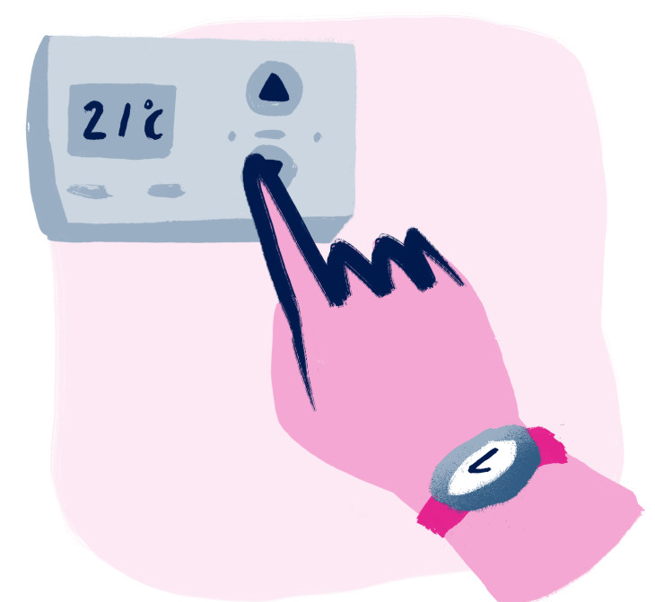 illustration of a hand on a thermostat