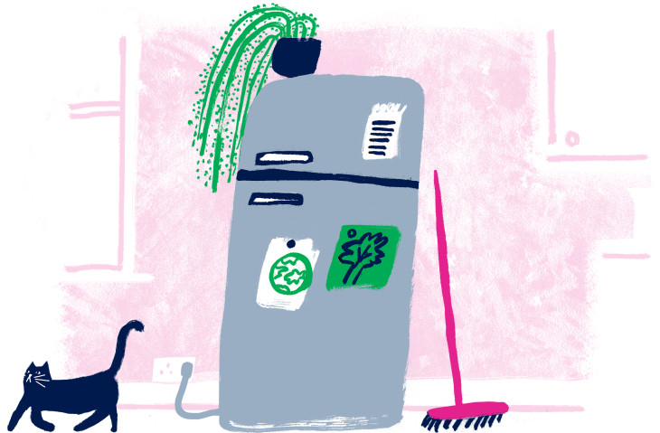 An illustration of a fridge, and a cat minding its own business.