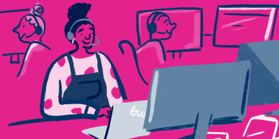 Illustration of a team member at Bulb tapping away on their computer