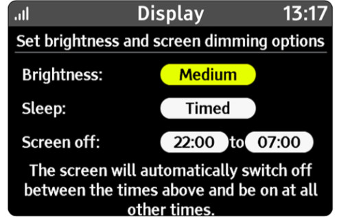 An illustration showing the display settings, where you can set the brightness, andthe times you'd like the screen to go off.