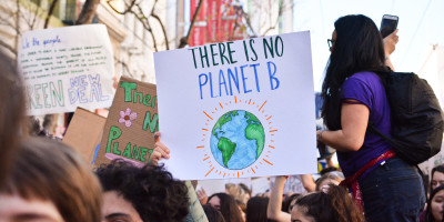A picture from a climate crisis protest in San Francisco, United States