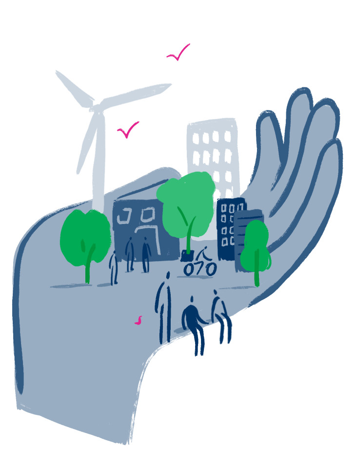 A hand holding a city with trees, people, and a wind turbine.