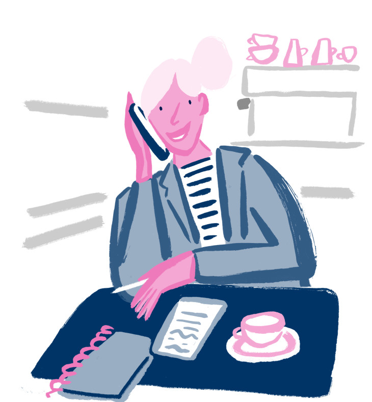 Illustration of a small business owner on the phone