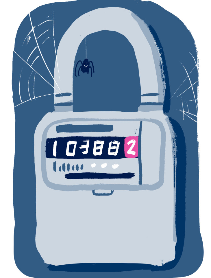 Illustration of a padlocked energy meter with dangling spider