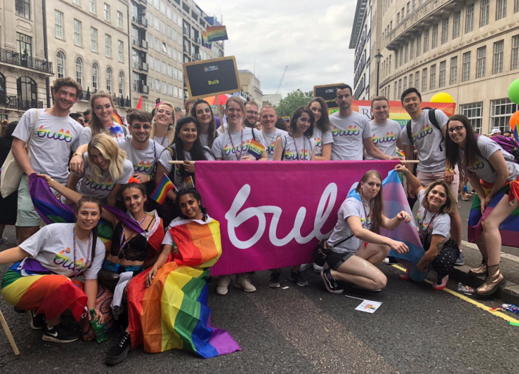 A picture of the Bulb team at Pride 2019 in London