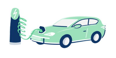 An illustration showing an electric vehicle being charged