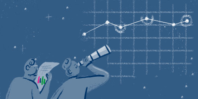 Illustration of people stargazing at the energy market