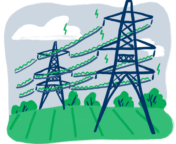 Illustrated electricity pylons in a field