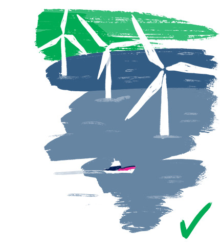 Illustration of an off shore wind farm