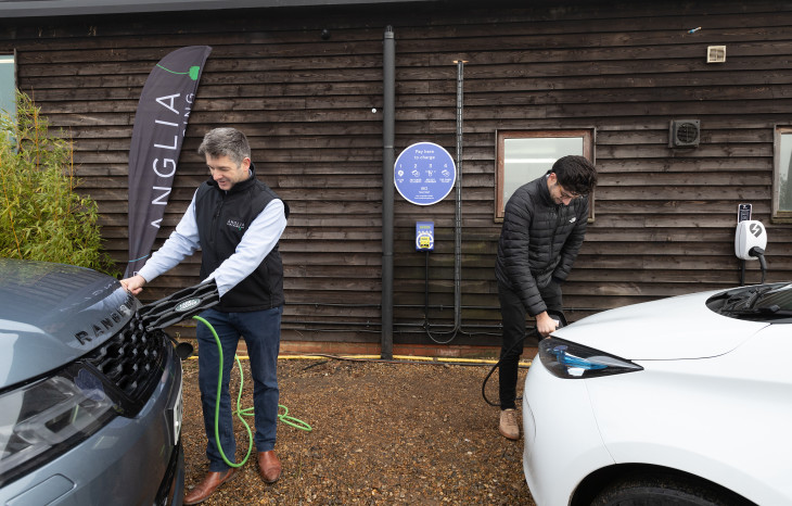 Richard Seppings (Anglia Car Charging) and Charlie Jardine (EO Charging) launch Plug in Suffolk in February