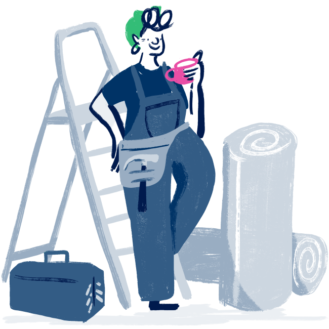 Illustration of a happy homeowner with a stepladder and a cuppa