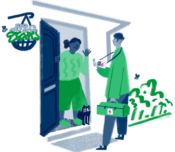 Illustration of a smiling installation engineer arriving at a front door