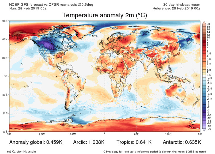 A map showing global temperature anomalies