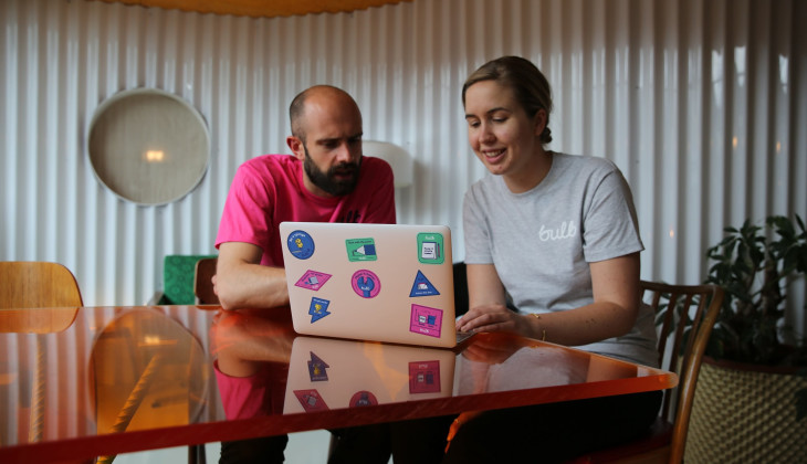 Team Bulb put culture stickers on their laptops