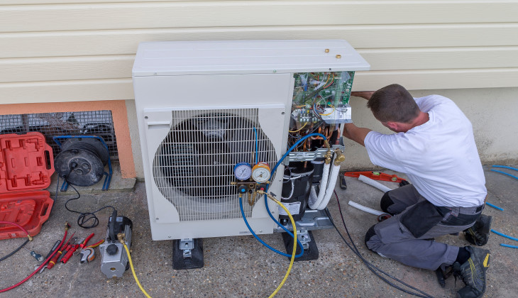 Heat pump being installed