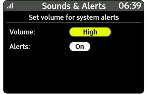 An illustration showing the volume and alert options available for the IHD.