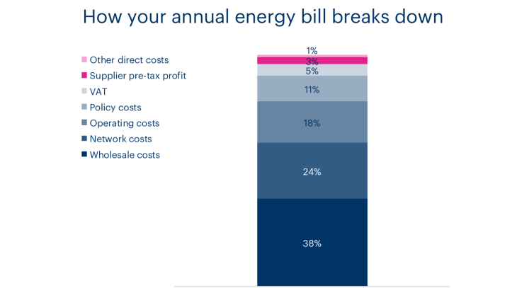 A chart showing the breakdown of an energy bill for the average home
