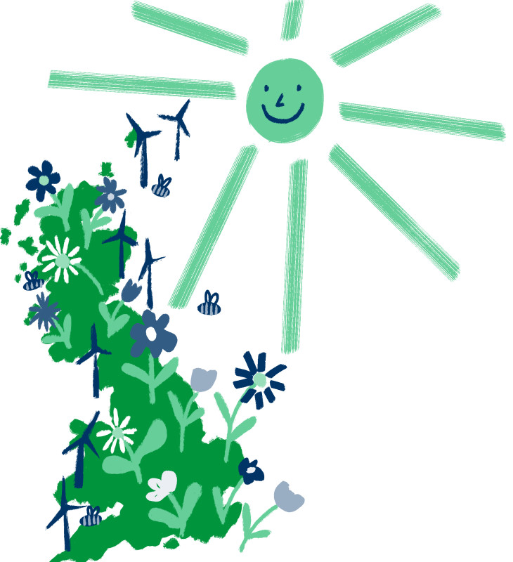 Illustrated map of green energy across the UK