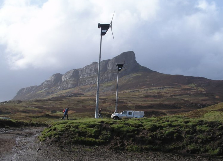 Islanders on Eigg tend to the wind turbines