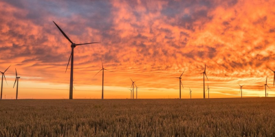 Windmills on an open field during sunset