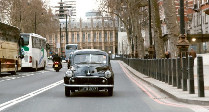 Riding around London in the electric Morris Minor