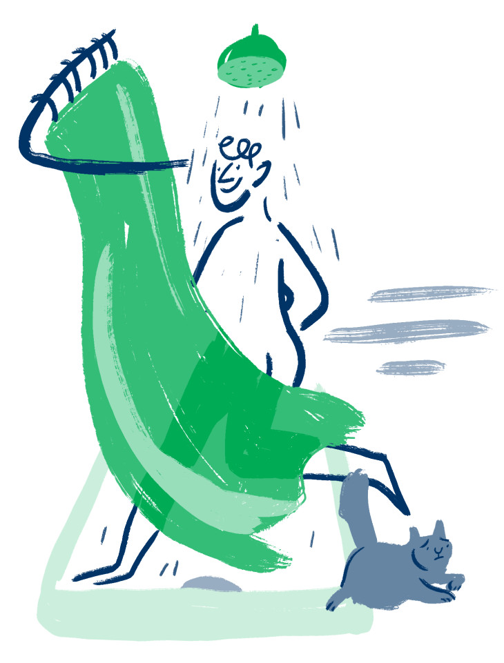 Illustration of someone running into their shower and scaring a cat away