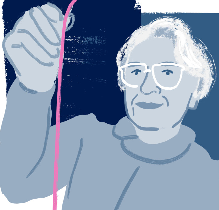 Illustration of Stephanie Kwolek holding a pink synthetic fibre