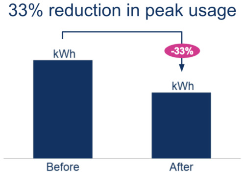 Chart showing Bulb members reduced their peak energy usage by 33%