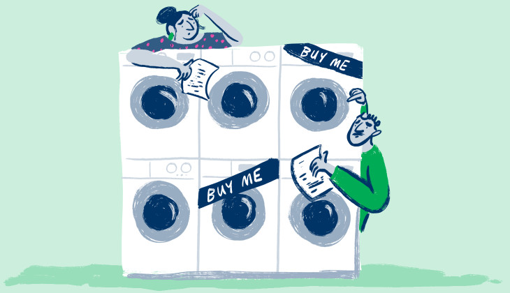 Illustration of a couple wondering which washing machine to buy. They look confused. They could find some help in our energy guides, we bet.