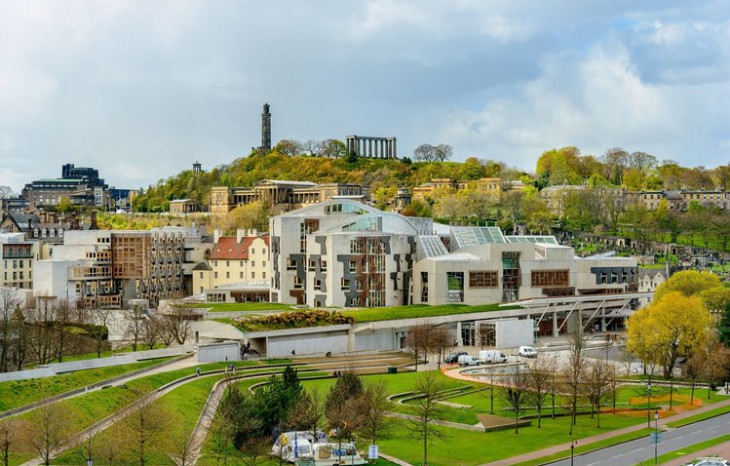 Scottish parliament's green roof and gardens