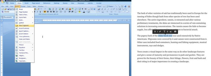 Microsoft Word (left) and Medium (right) text editor