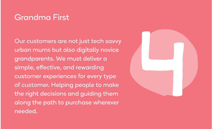 "Wonderbly's ""Grandma first"" principle as shown on their design system website"