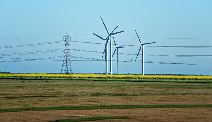 Wind farms in distance