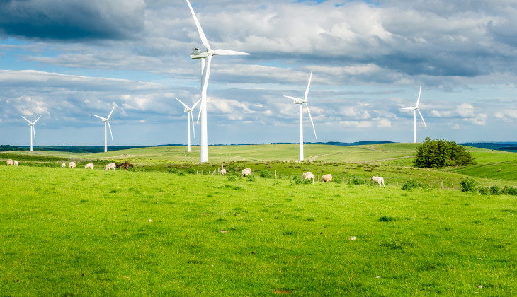 A picture of a wind farm in the UK