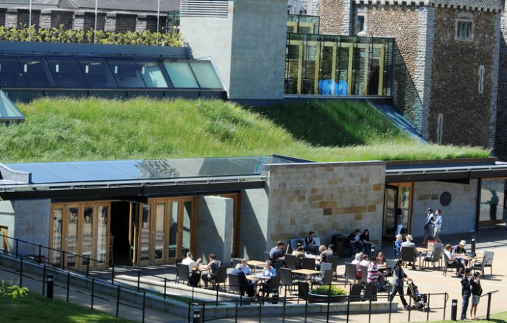 Interpretation Centre green roof at Cardiff Castle