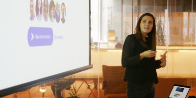 Beth Horne, A user researcher at Bulb, presenting