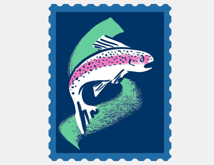 A stamp representing a Bulb hydro generator used on the generator map