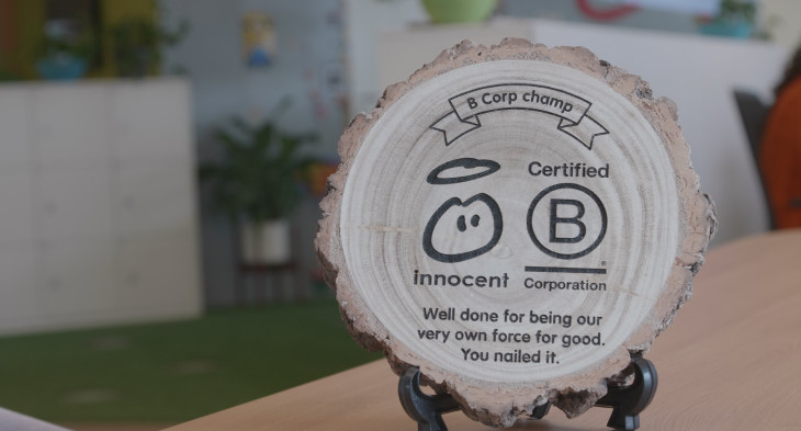 a B Corp plaque at innocent headquarters
