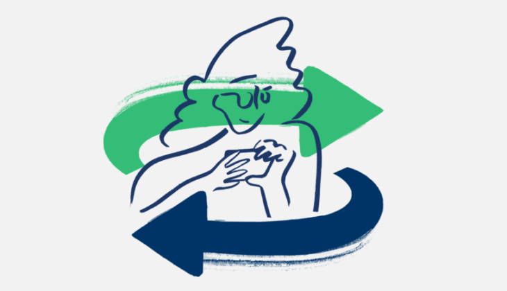 A woman with a curved blue arrow going left and a curved green arrow going right in front of her.