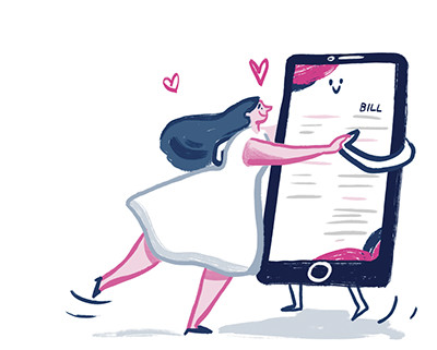 An illustrated bulb member dancing romantically with her energy bill on a tablet computer.