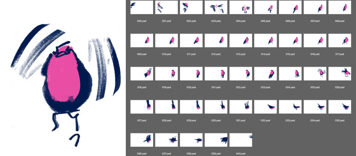 A screenshot showing 41 edited drawings that make up the animated frames of the Robin