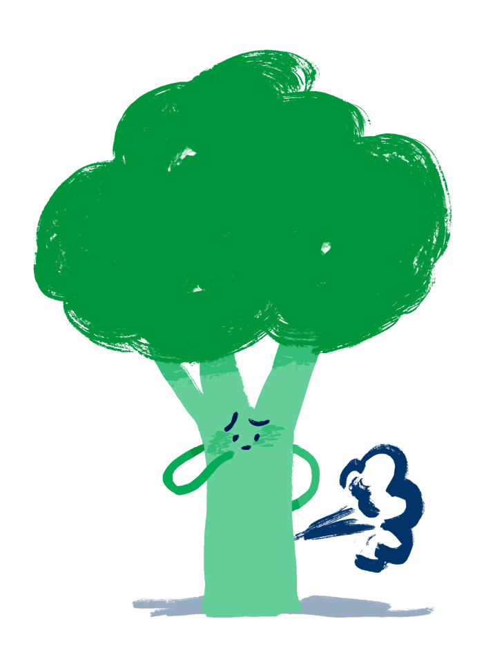 Illustration of a piece of broccoli passing wind and looking guilty