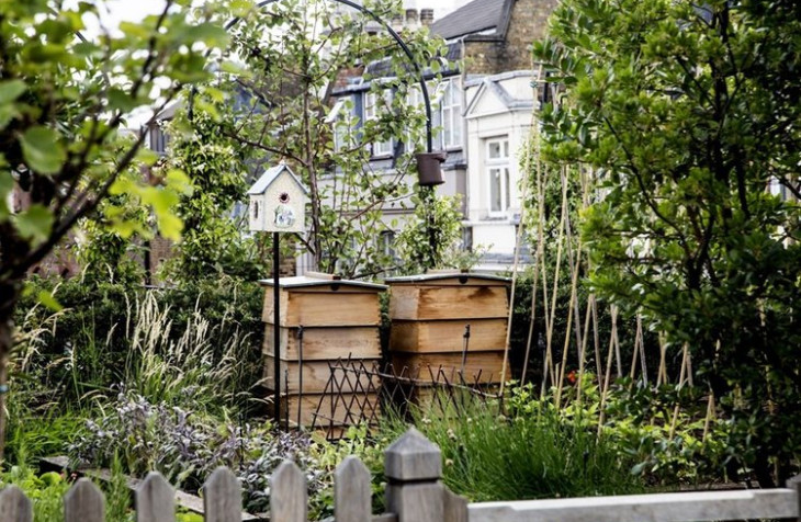 Two beehives in the garden of Ham Yard Hotel